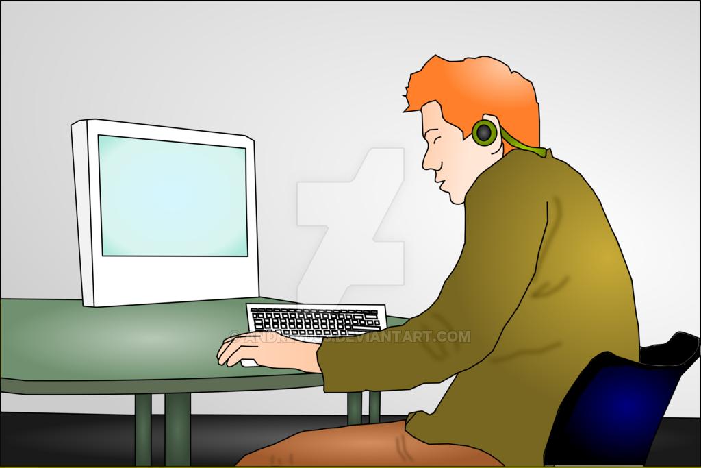 Young Man at his Computer